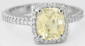 Yellow Sapphire and Diamond Halo Ring in 14k white gold