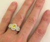 Real Vintage Styled Yellow Sapphire and Diamond Ring in 14k white gold