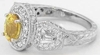 Vintage Styled Yellow Sapphire Ring with carved band in 14k white gold