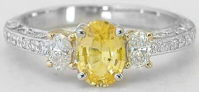 Oval Yellow Sapphire Ring Platinum