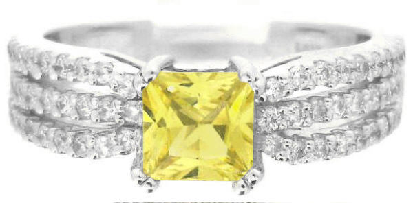 Princess Cut Yellow Sapphire Engagement Rings