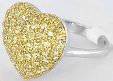Pave Heart Yellow Sapphire Ring in White Gold