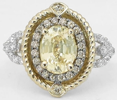 Unique Natural Unheated Yellow Sapphire Ring with Real Chocolate Diamond Halo and Rope Design in 14k white and yellow gold for sale