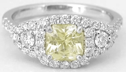 Natural Radiant Yellow Sapphire Three Stone Ring with a Real Diamond Halo in 18k white gold