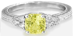 Natural Cushion Yellow Sapphire and Diamond Ring in 14k white gold with Ornate Engraving
