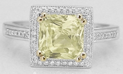Radiant Cut Unheated Natural Yellow Sapphire Ring in 14k gold