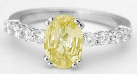Classic  Oval Yellow Sapphire and Diamond Ring in 14k white gold